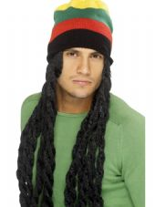 Hawaiian Luau Rasta Hat & Dreadlocks Wig